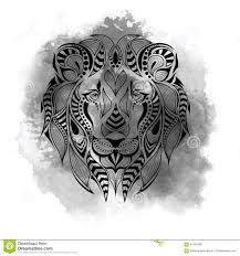 tattoo design lion patterned colored head of the lion african indian totem tattoo