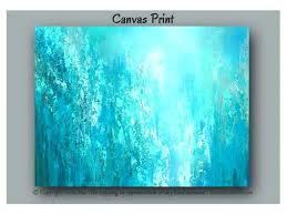 teal blue home decor wall arts abstract painting oversized canvas print large wall