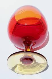 Red Glass Vases And Bowls Red Orange Amberina Art Glass Vase Big Brandy Snifter Glass Fish