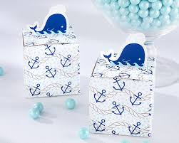 Blue Favor Boxes by Nautical Themed Whale Design Favor Box Set Of 24