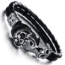 skull bracelet leather images Hot sale top punk mens fashion vintage real leather skeleton jpg