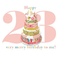 a with pom poms happy 23 merry birthday to me