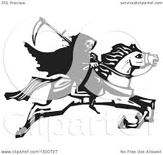 clipart of a black and white woodcut grim reaper riding horseback