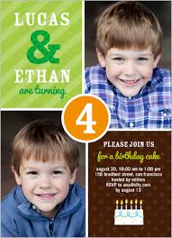 twins 2 photo green birthday invite for boys from shutterfly