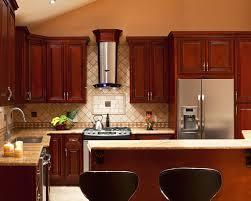 imposing cherry kitchen cabinet brown with sleek granite