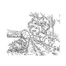 Coloriage Paysage de route rurale dessin gratuit à imprimer