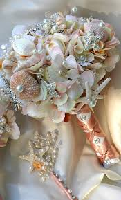 wedding bouquets with seashells pink sea shell wedding bouquet blush bridal bouquet by bohobridal