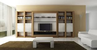 large open plan wooden tv wall units with centered tv room and