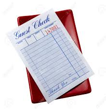 guest check tray blank restaurant check on tray stock photo picture and