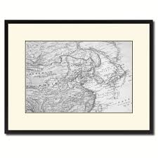 europe asia vintage b u0026w map canvas print picture frame home decor