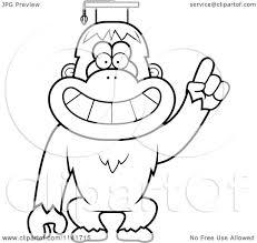 cartoon clipart of a black and white orangutan monkey professor