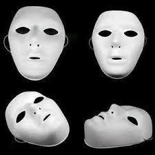 plain mask 12 x plain white matt plastic mask paintable