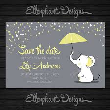save the date baby shower save the date yellow elephant baby shower umbrella