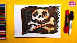 Picture Of A Pirate Flag How To Draw A Pirate Flag Youtube