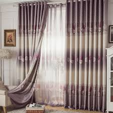 Purple Floral Curtains Chic Linen Grey Floral Lined Ready Made Curtains