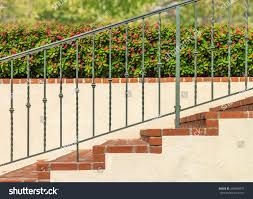 side view outdoor brick stairs metal stock photo 340439075