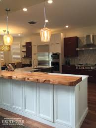 Kitchen Islands Bars Faux Live Edge Tigerwood Countertop With One Long Custom Crafted