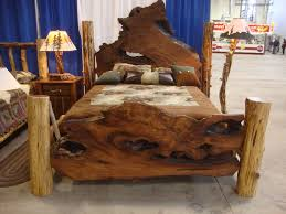 bedroom chic rustic bedroom with natural wood brown bed and