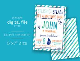 shark birthday invitations boy splash water birthday invitation digital file splash pad