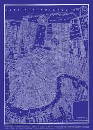 New Orleans City Map New Orleans Street Map Vintage Blueprint Print Poster