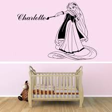 rapunzel personalised with a name of your choice wall stickers black personalised rapunzel wall decal above a cot