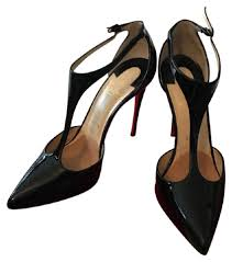 christian louboutin black patent j string 100 pumps size eu 37