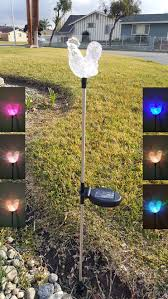 rooster color changing solar stake lights set of 2 for outdoor garden