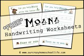 Handwriting Worksheets Free Free Moana Handwriting Worksheets Our Crazy Homeschool Life