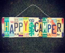 happy camper license plate sign office decor positive quotes