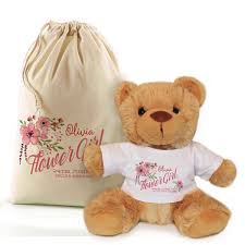 flower girl teddy gift personalised flower girl bridesmaid thank you teddy in a bag