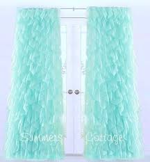 Shabby Chic Window Panels by Dreamy Ruffled Curtain Drape Panel Shabby Beach Cottage Chic Aqua Blue