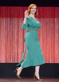 mad men dress hendricks in l wren dress 2014 paleyfest mad men