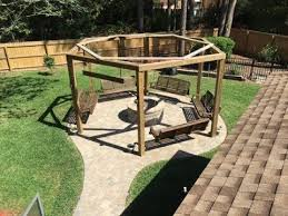 Firepit Benches Tutorial Diy Pergola With Firepit Benches Chairs And Swings