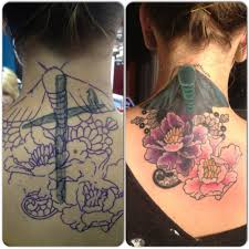 neck and chest tattoos traditional butterfly before and after