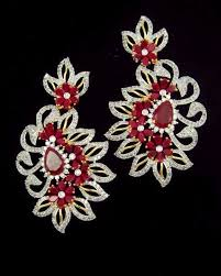 online earrings contemporary gold plated cubic zirconia white sparkling floral