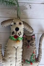 dog and cat felt christmas ornament cat lover dog lover gift