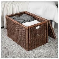 Wicker Laundry Basket With Lid Ikea Gabbig Storage Box Ikea