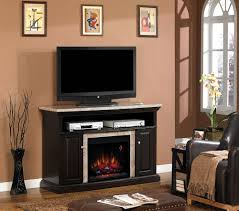 brighton electric fireplace media console in coffee black