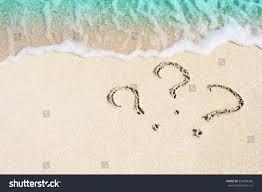 Sand Beach by Question Mark Sign Handwritten Sand Beach Stock Photo 554438206