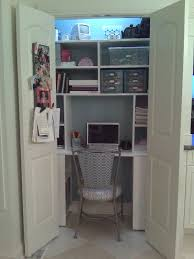organizing tip of the week desk in a closet