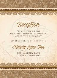 wedding reception card rustic burlap lace wood