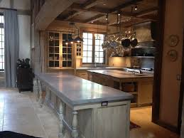 Rustic Kitchen Countertops by Grey Island With Concrete Countertop Blue Cabinets Side By Side