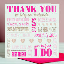 in bridesmaid card personalised thank you bridesmaid card by designs