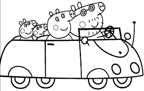 coloring pages peppa the pig peppa pig and family driving car coloring pages best place to color