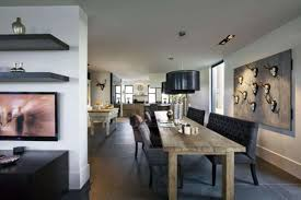 Rustic Modern Dining Room Rustic Dining Room Layout With Black Contemporary Lighting Idea