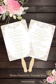 Cheap Wedding Program Fans Wedding Program Fan Kaitlyn Blush Pink Champagne Monogram