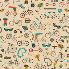 bicycle wrapping paper bicycle seamless pattern colour flat design vector illustration