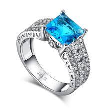 Aquamarine Wedding Rings by Jeulia Princess Cut Created Aquamarine Engagement Ring Jeulia