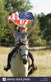 Horse With American Flag Horse Holding American Flag Stockfotos U0026 Horse Holding American