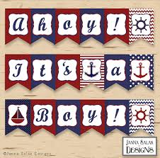Nautical Themed Baby Shower Banner - nautical theme baby shower printable banner perfect for a ocean